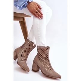 Suede Openwork Boots On High Heel Nicole 2638 Cappuccino beige 4