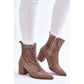 Suede Openwork Boots On High Heel Nicole 2638 Cappuccino beige 5