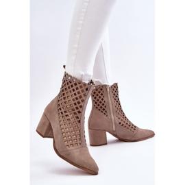 Suede Openwork Boots On High Heel Nicole 2638 Cappuccino beige 6