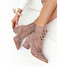 Suede openwork boots on high heels Nicole 2638 Brown 6