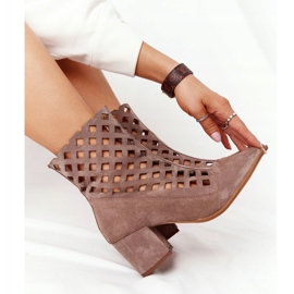 Suede openwork boots on high heels Nicole 2638 Brown 1