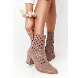 Suede openwork boots on high heels Nicole 2638 Brown 2