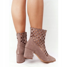 Suede openwork boots on high heels Nicole 2638 Brown 3