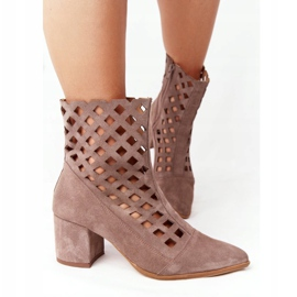 Suede openwork boots on high heels Nicole 2638 Brown 4