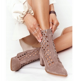 Suede openwork boots on high heels Nicole 2638 Brown 5
