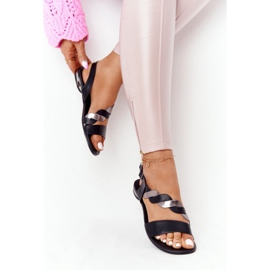 Leather Sandals Vinceza 21-17117 Black and Silver 4