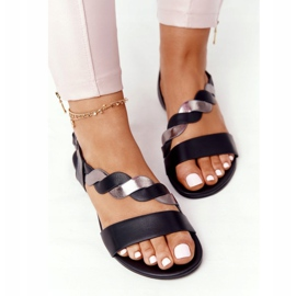 Leather Sandals Vinceza 21-17117 Black and Silver 1