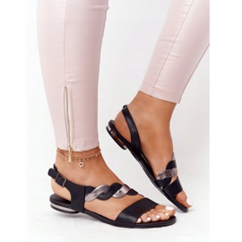 Leather Sandals Vinceza 21-17117 Black and Silver 3