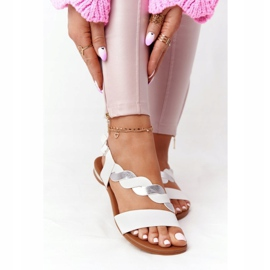 Leather Sandals Vinceza 21-17117 White and Silver 2