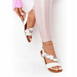 Leather Sandals Vinceza 21-17117 White and Silver 4