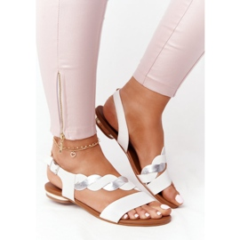 Leather Sandals Vinceza 21-17117 White and Silver 3