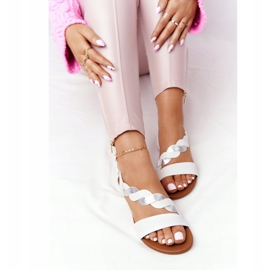 Leather Sandals Vinceza 21-17117 White and Silver 1