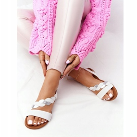 Leather Sandals Vinceza 21-17117 White and Silver 5