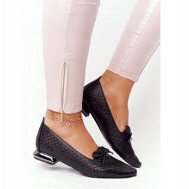 Openwork Loafers On Silver Heel Vinceza 21-10602 Black 3