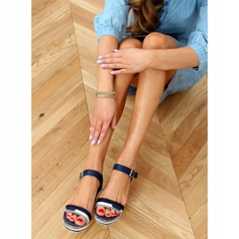 Navy sandals on wedges A89832 Blue 2