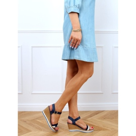 Navy sandals on wedges A89832 Blue 3