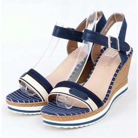 Navy sandals on wedges A89832 Blue 1