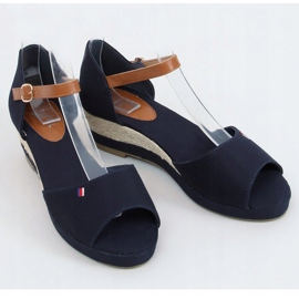 Tommy Sandals on a low wedge blue BL-362 Navy brown 1