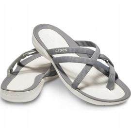 Crocs Women's Slippers Swiftwater Webbing Flip W Light Gray 205479 Oct. grey 3