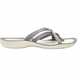 Crocs Women's Slippers Swiftwater Webbing Flip W Light Gray 205479 Oct. grey 4