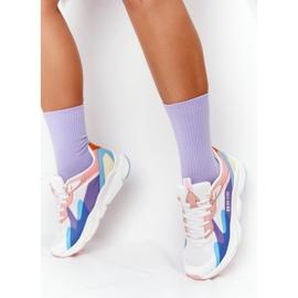 Women's Sport Shoes Memory Foam Big Star HH274809 White-Pink violet blue 2