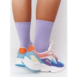 Women's Sport Shoes Memory Foam Big Star HH274809 White-Pink violet blue 6