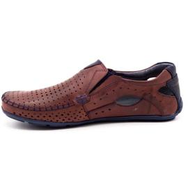 Olivier Men's shoes moccasins 901 summer burgundy red 1