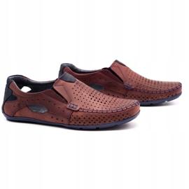 Olivier Men's shoes moccasins 901 summer burgundy red 2