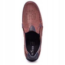 Olivier Men's shoes moccasins 901 summer burgundy red 8