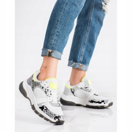 Kylie Comfortable Snake Print Sneakers white multicolored 3