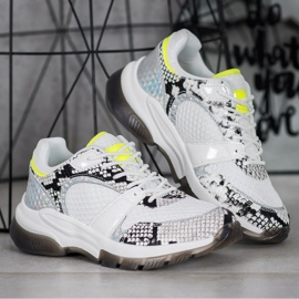 Kylie Comfortable Snake Print Sneakers white multicolored 2