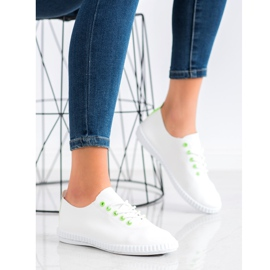 SHELOVET Light Sneakers With Eco Leather white green 2