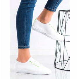 SHELOVET Light Sneakers With Eco Leather white green 3
