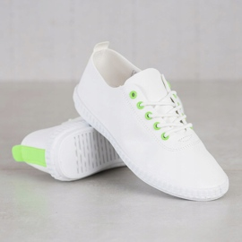 SHELOVET Light Sneakers With Eco Leather white green 1
