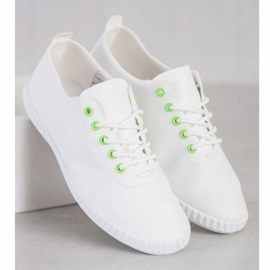 SHELOVET Light Sneakers With Eco Leather white green 4