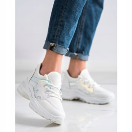 SHELOVET Spring Sneakers With Holo Effect white 2