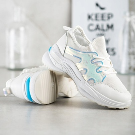 SHELOVET Spring Sneakers With Holo Effect white 3