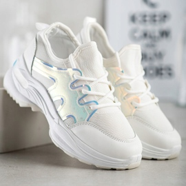 SHELOVET Spring Sneakers With Holo Effect white 4