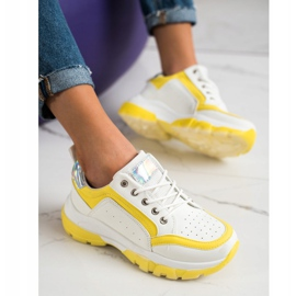 SHELOVET Eco Leather Sneakers white silver yellow 1