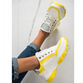 SHELOVET Eco Leather Sneakers white silver yellow 2
