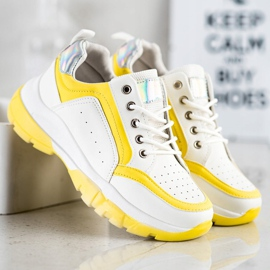 SHELOVET Eco Leather Sneakers white silver yellow 3
