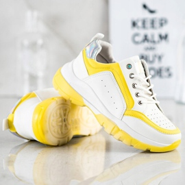 SHELOVET Eco Leather Sneakers white silver yellow 4