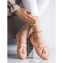 Queentina Fashionable suede loafers beige pink 2