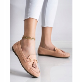Queentina Fashionable suede loafers beige pink 3