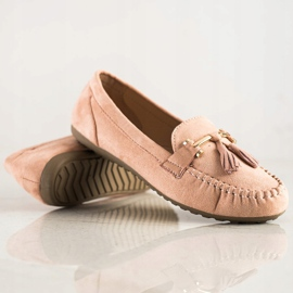 Queentina Fashionable suede loafers beige pink 1