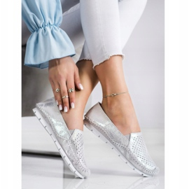 Goodin Silver Leather Loafers grey 2