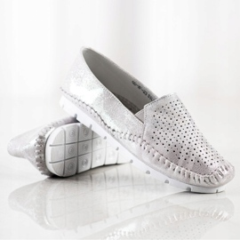 Goodin Silver Leather Loafers grey 4
