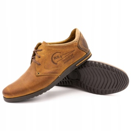 Polbut Men's leather shoes 2103 camel brown 2
