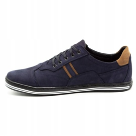 Polbut Men's casual shoes 1801 navy blue nubuck / camel multicolored 2