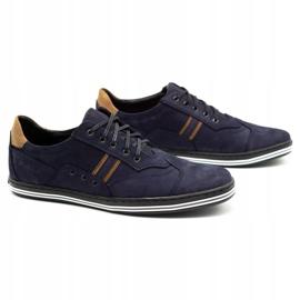Polbut Men's casual shoes 1801 navy blue nubuck / camel multicolored 3